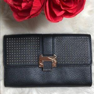 Rebecca Minkoff Coco Black Leather Clutch Gold